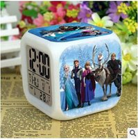 Wholesale Frozen LED Colors Change Digital Alarm Clock Frozen Anna and Elsa Thermometer Night Colorful Glowing Mini Clock Children Gift
