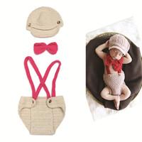 Cheap Crochet Baby Hat Diaper Set Crochet Boy Gentleman Set Baby Knitted Photo Photography Props 0-12M 1set Free Shipping MZS-14033