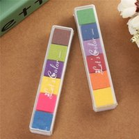 Wholesale 6 colors Cute Inkpad Craft Oil Based DIY Ink Pad for Rubber Stamps for Fabric Paper Scrapbook Wedding Decor Fingerprint Ink Pad