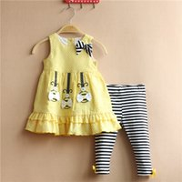 bee pants - 2015 summer girls outfits Sweet bees sleeveles t shirts striped pants two piece set girls clothing sets pure cotton kids clothing set T193