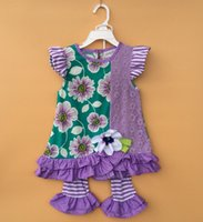 Wholesale Purple flower dress Summer Girls cotton children suits T shirt leggings years old suspenders clothes in stock sale sets Q8