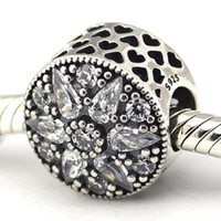 Wholesale Fit Pandora Bracelets Charms Beads Sterling Silver Jewelry Outlet Radiant Bloom Crystal CZ SILVER CHARM DIY European