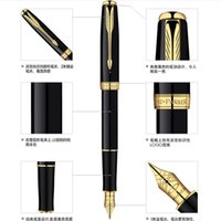 fountain pens - Metal Parker Brand Fountain Pen Black Silver Luxury Ink Pen Customize Engrave Logo for Business Creative Gift