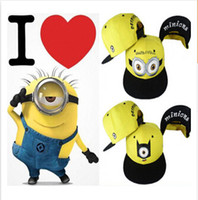 Wholesale 2015 Despicable Me Cartoon Minions peaked Cap Kids Snapback Hat Caps Children s Boys Girls Baseball Hip Hop Hats Student Gift adults