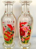 antique flower vases - 2016 New Chinese hand made crafts bottle built in peony flowers and fish artwork glass vase