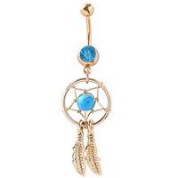 aqua acrylic - 0008 Dream Catcher Dangle Aqua color stones Belly Rings Navel naval drop shipping
