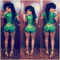 Cheap 2015 Summer New Fahsion Women Green Leaf Printed Bodycon Sexy Clubwear Bodysuit Celebrity One Piece Bandage Jumpsuit Shorts S344M
