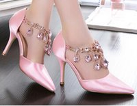big auger - 2016 New brand High heels Wedding Shoes Set auger shoes pointed Women shoes ribbon rhinestone Bridal shoes big size US4 US8 NSHX