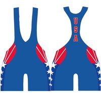 Wholesale USA School Team Wrestling Singlet Weight Lifting Gym Outfit Tight Combat Bodywear Custom available