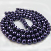 strands of glass beads - BSI Dark Purple mm Inches Strand Of Satin Luster Glass Pearl Round Beads Jewelry Making