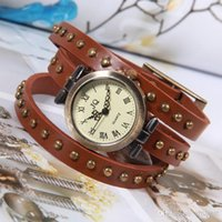 Wholesale 3 coil winding the watch Roman scale retro leather bracelet watches round rivet table