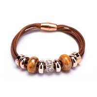 achat en gros de charme européen cuir bracelets de perles-2015 Charms de mode Bracelets bracelets en cristal européenne Perle or rose Bracelet en cuir avec magnétique Bijoux Fermoir Cadeau de Noël