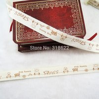 Wholesale quot mm Printed Cotton Ribbon Bows Wedding Party Decor Craft DIY Material Tape yards Sunny Day