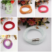 Wholesale Multi Color Stardust Mesh Double Bracelet Shining Micro Resin Crystal Beads Filled Bracelets Magnet Clasp Silver and Gold Plated EB0410