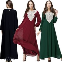 Wholesale 2016 Dubai Traditional Women Dress Muslim Women Islamic Clothing Long Sleeve Wrap Dress Lace Patchwork Latest Abaya
