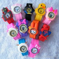 bear decor - 20pcs Cute Cartoon Style Mix Order Children Kids Teens Silicone Wristwatch Spiderman Minions Batman Car Birds Bear Children Slap Watch Gift