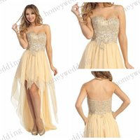 short front long back dresses - Affordable Short Front Long Back Prom Dresses Sweetheart Beaded Chiffon Champagne High Low Party Dress For Formal Events