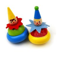 Wholesale 200PCS clown peg top wooden top educationial toys whipping top kids popular toys develop intelligence SKU C003
