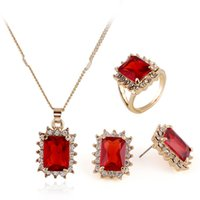 Cheap rhinestone crystal necklace jewelery set Best Ring earrings and necklace sets