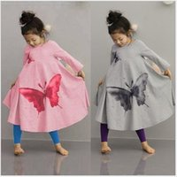 Wholesale Girl Kids Dress Full Butterfly Print New Autumn Children Clothing Girl Dress Baby Dress For Christmas