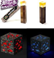 Wholesale Minecraft toy Minecraft Light up Redstone Diamond Ore Light up Torch Minecraft Wall Torch ORIGINAL Gift box IN STOCK