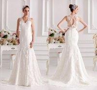Wholesale Custom made Applique Slim line lace Ivory beading empire waist wedding dress Bride gown