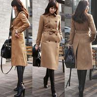 Cheap High Quality Women Slim Fit Warm Windbreak Parka Outwear Belt Long Jacket Overcoat With Sash And Pocket