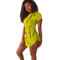 arc work - robe ete XXL Summer Style Arc Hem Women tshirt Dress Stripe Printed Cropped Side Slit Cotton Short Yellow Club Maxi Dresses