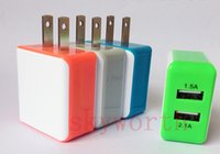 Wholesale New Full A V Dual USB LED Light wall Home Charger AC Plower Adapter US Plug charger