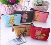 Wholesale 2015 Kawaii Animal Printing Women s Girls s canvas Coin purses keychain bag keys wallet Purse change pocket holder Animal canvas change