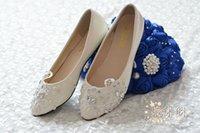 Wholesale 2014 Ivory Wedding Shoes Lace Flower Beading Handmade Bridal Shoes Bridal Accessories Beading Wedding Shoes Women Flat Sandal Platform
