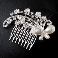 Wholesale Silver Plated Pearl Bead Women Wedding Bridesmaid Hair Comb Tube Bead Flower Petals Hair Accessory