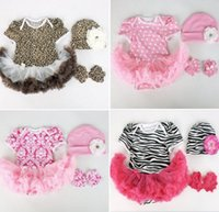 Girl rosettes chiffon - baby girl infant toddler piece set outfits rose leopard zebra cotton onesies romper soft chiffon tutu hat rosette foot flower sets