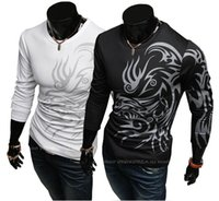 Wholesale The new European American style fashion men s t shirts dragon pattern Slim round neck long sleeved T shirt shirt White
