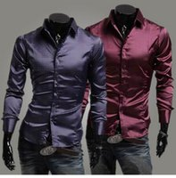 Cheap 1PCS Men Classic Purple Emulation silk shiny Long sleeves Shirt Mens Business Shirt Mens polo t shirt Free Shipping