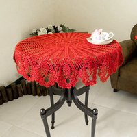Wholesale New Hand crocheted Tablecloth Europe America Rural Countryside Dining Tablecloth Retro Hollow Weave Round Tablecloths JM0111 salebags