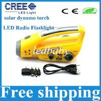 dynamo emergency light radio - 2015 new style LED Radio Flashlight Mulit function solar dynamo torch w hand crank torch light led emergency light