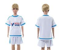 blank football jersey - Kids Soccer Kits Marseille Home White Blank Football Jersey Short Sportswear for Childrens custom name number