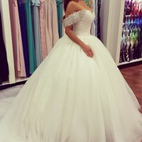 Wholesale Off The Shoulder Ball Gown Wedding Dresses Cap Sleeves White Tulle Crystals Rhinestone Beaded Luxury Bridal Gowns For Church