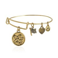 angels cherub - Alex Ani Cherub Gold Finish Charm Bangles Expandable Wire Bracelets Vintage Antiqued Style Men and Women Jewelry AA201435
