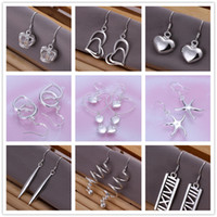 Wholesale Mix style sterling silver plated dangle earing Small Solid Heart crown starfish charm Earrings for women jewelry