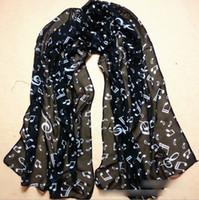 white silk scarf - 2014 Korean Style Women Music Note Scarf Fashion For Big Grils Chiffon Silk Scarves Ladies Autumn New Black White Yellow Neck Wear H1782