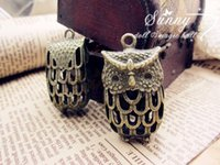 alloy electroplating - Bronze hollow out owl Charms Necklace Pendants earrings handmade DIY alloy Electroplating Charms Jewelry Findings Components