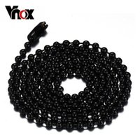 Cheap Fashion black gold silver color plated 24 inches ball chain necklace stainless steel gold chain necklace cool necklaves