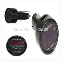 Wholesale High Quality In Car V Red Green Dual Display LED Dual Digital Thermometer Voltmeter Temperature Meter