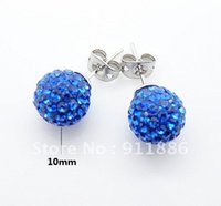 Wholesale Fashion Shamballa Stud Earrings Blue mm Crystal Beads pair