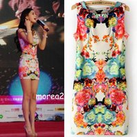 Wholesale New Summer New Colorful Women Floral Sexy Stretchy Sleeveless Vest Dresses Size Choose DHN