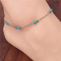 beaded ankle bracelets - European and American Fashion Simple Hand beaded Turquoise Blue Anklet Chain Link Ankle Bracelet Foot Jewelry For Women