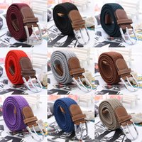 Wholesale Women Men Leather Elastic Weave Belts Fashion Casual Alloy Buckle Waistband QBF