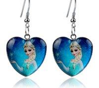 Wholesale Frozen Earrings Elsa Anna Heart Dangle Chandelier Earrings Women Children Girl Charm cartoon glass Pendant Earrings Party Gift COSPLAY hot